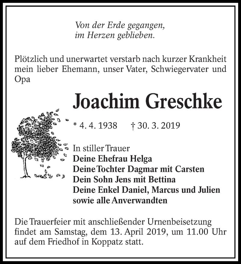 Traueranzeige für Joachim Greschke vom 06.04.2019 aus lausitzer_rundschau