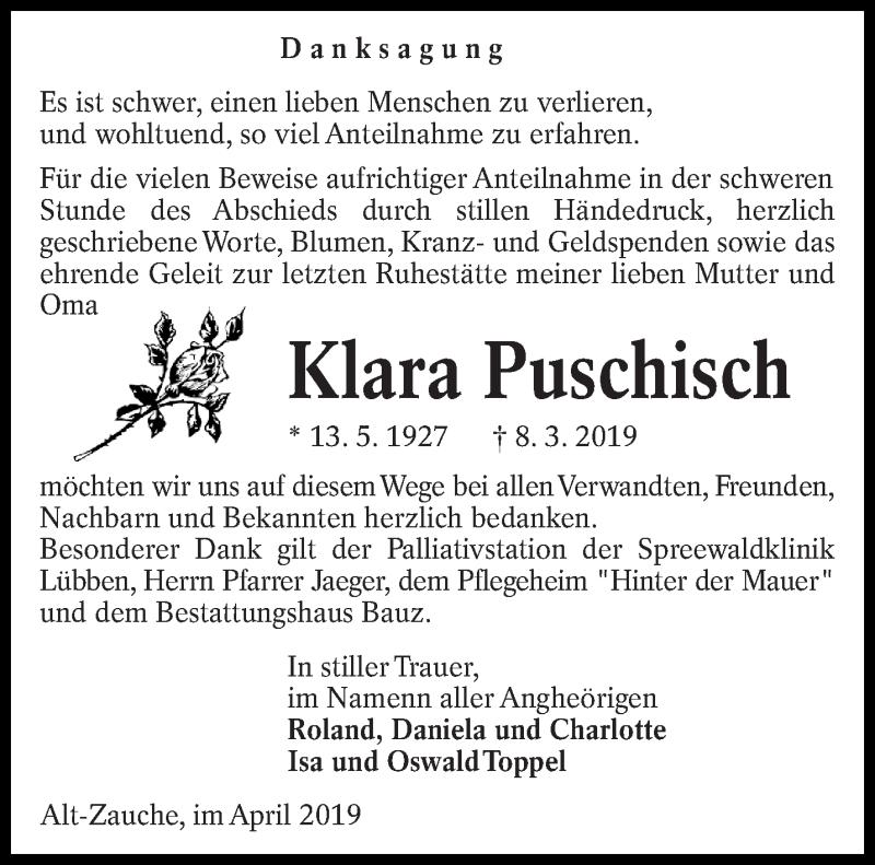 Traueranzeige für Klara Puschisch vom 11.04.2019 aus lausitzer_rundschau