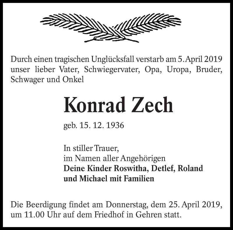 Traueranzeige für Konrad Zech vom 18.04.2019 aus lausitzer_rundschau