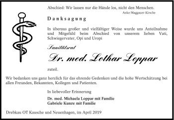 Traueranzeige für Lothar Loppar vom 13.04.2019 aus lausitzer_rundschau