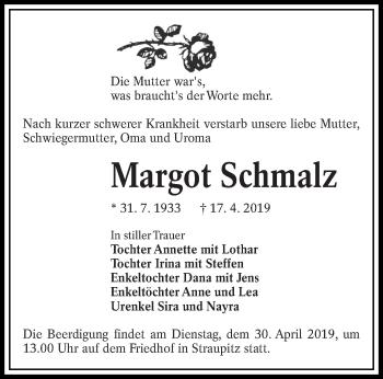 Traueranzeige für Margot Schmalz vom 20.04.2019 aus lausitzer_rundschau