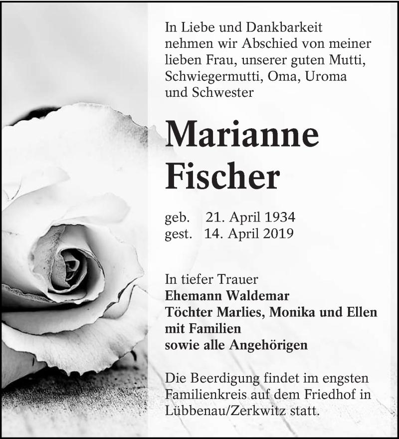 Traueranzeige für Marianne Fischer vom 20.04.2019 aus lausitzer_rundschau