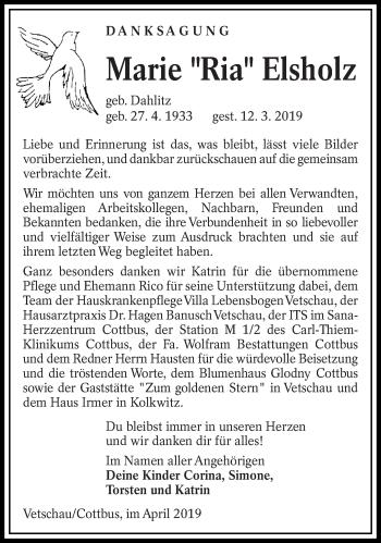 Traueranzeige für Marie Elsholz vom 13.04.2019 aus lausitzer_rundschau