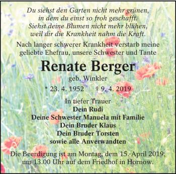 Traueranzeige für Renate Berger vom 13.04.2019 aus lausitzer_rundschau