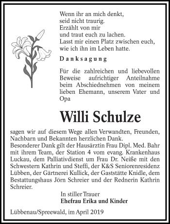 Traueranzeige für Willi Schulze vom 20.04.2019 aus lausitzer_rundschau