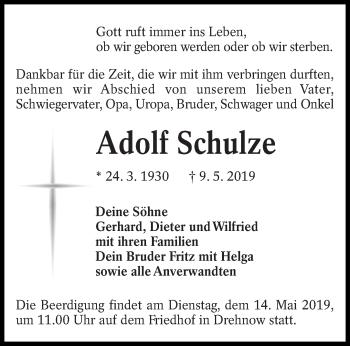 Traueranzeige für Adolf Schulze vom 14.05.2019 aus lausitzer_rundschau