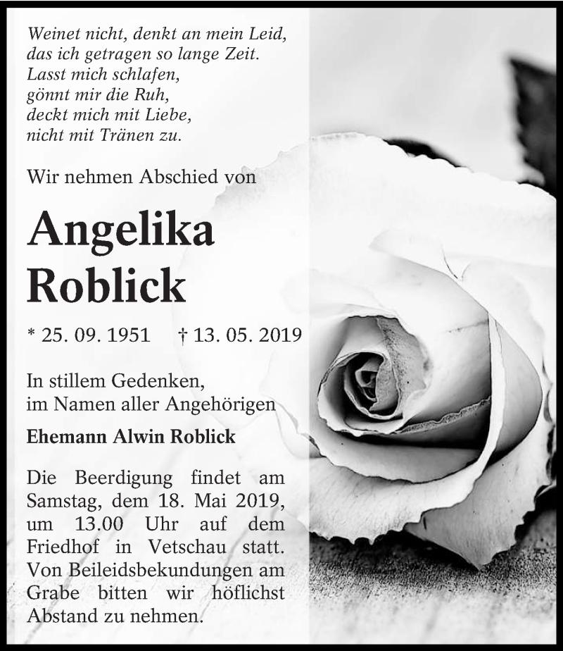 Traueranzeige für Angelika Roblick vom 15.05.2019 aus lausitzer_rundschau