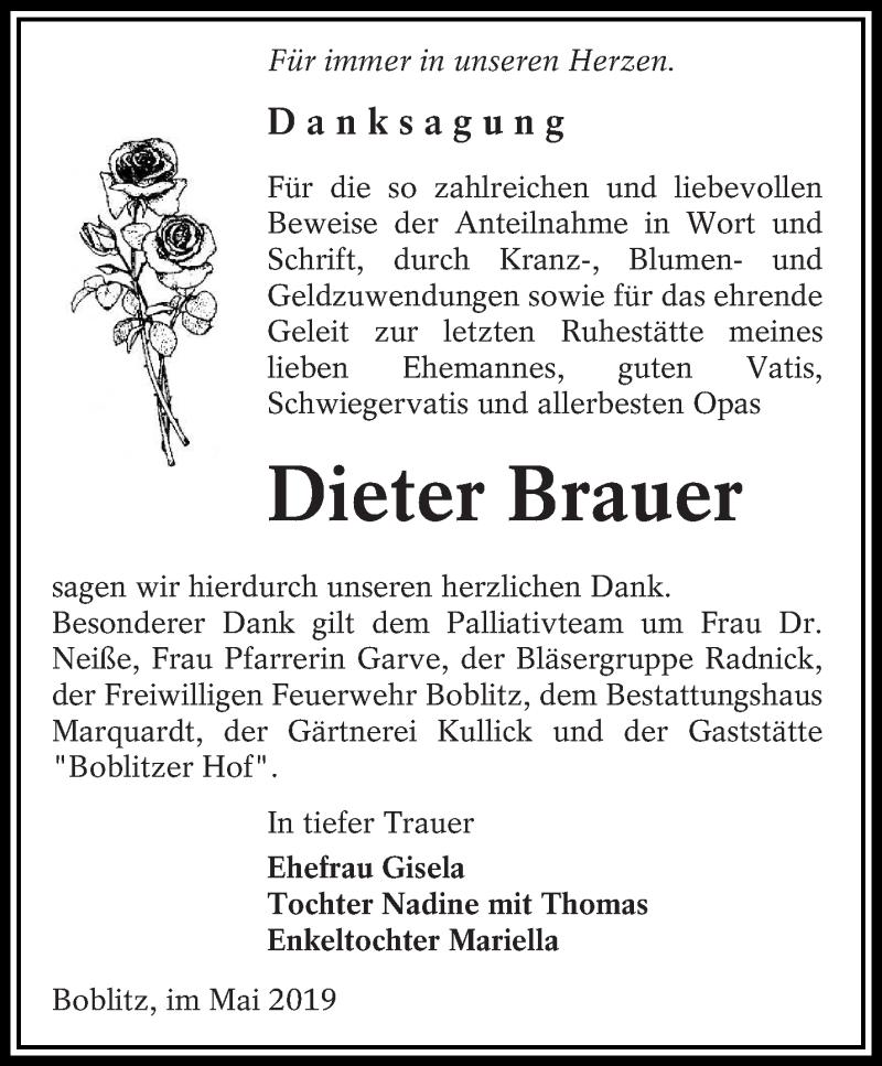 Traueranzeige für Dieter Brauer vom 25.05.2019 aus lausitzer_rundschau
