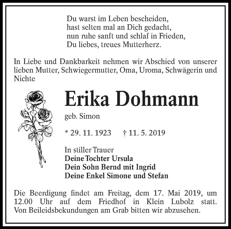 Traueranzeige für Erika Dohmann vom 14.05.2019 aus lausitzer_rundschau