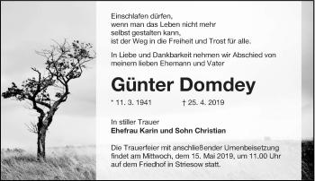Traueranzeige für Günter Domdey vom 04.05.2019 aus lausitzer_rundschau