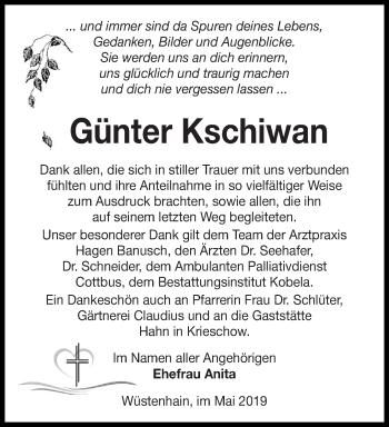 Traueranzeige für Günter Kschiwan vom 15.05.2019 aus lausitzer_rundschau