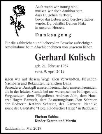 Traueranzeige für Gerhard Kulisch vom 04.05.2019 aus lausitzer_rundschau