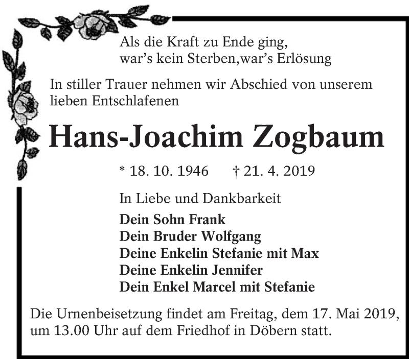 Traueranzeige für Hans-Joachim Zogbaum vom 11.05.2019 aus lausitzer_rundschau