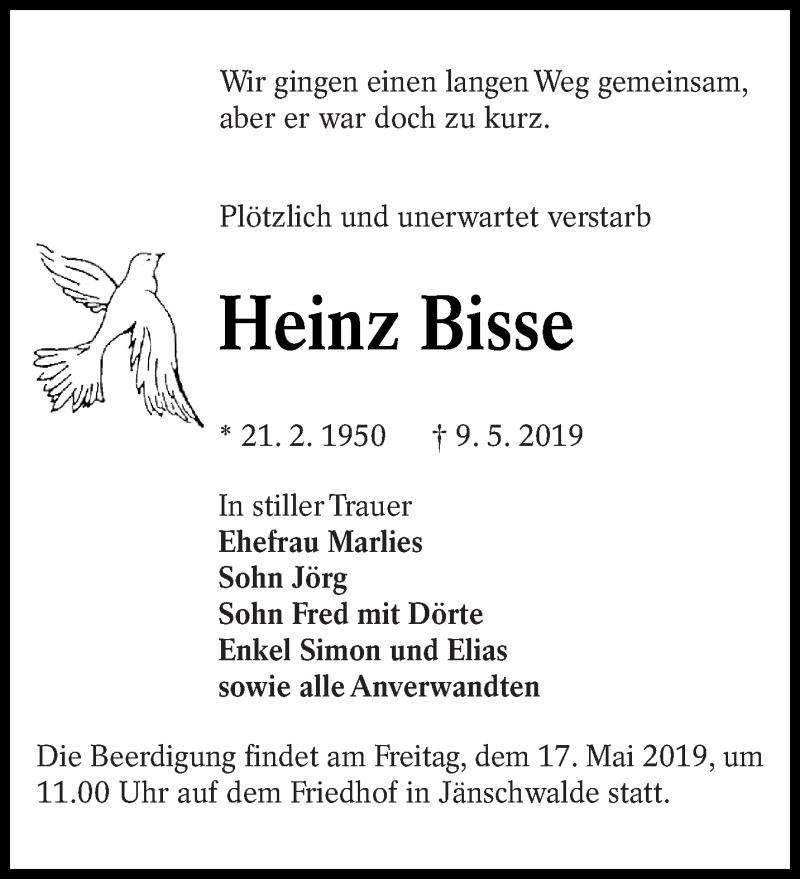 Traueranzeige für Heinz Bisse vom 14.05.2019 aus lausitzer_rundschau