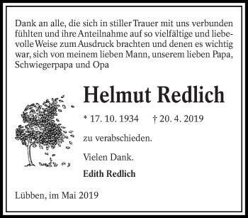 Traueranzeige für Helmut Redlich vom 16.05.2019 aus lausitzer_rundschau