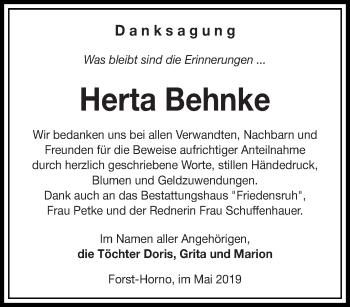 Traueranzeige für Herta Behnke vom 04.05.2019 aus lausitzer_rundschau