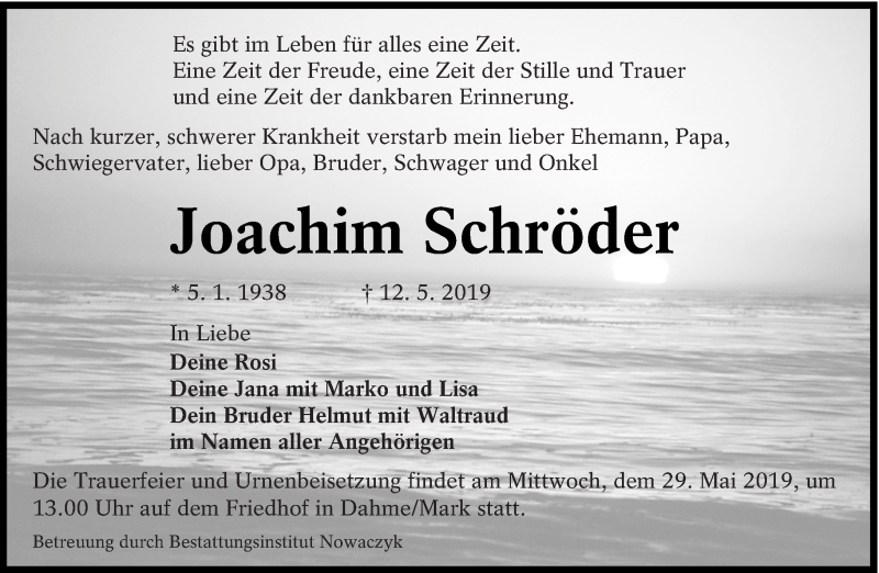 Traueranzeige für Joachim Schröder vom 15.05.2019 aus lausitzer_rundschau