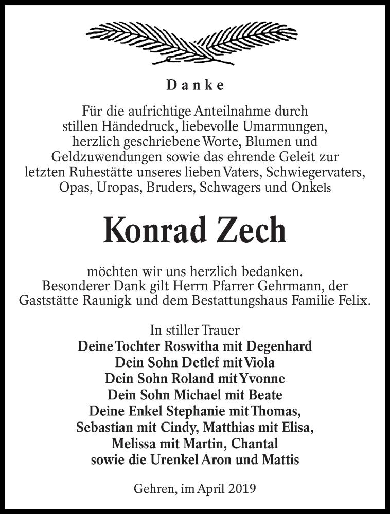 Traueranzeige für Konrad Zech vom 11.05.2019 aus lausitzer_rundschau