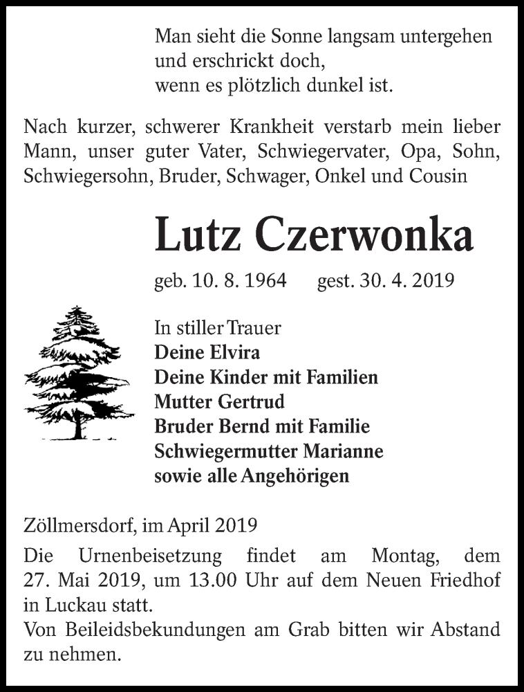 Traueranzeige für Lutz Czerwonka vom 04.05.2019 aus lausitzer_rundschau