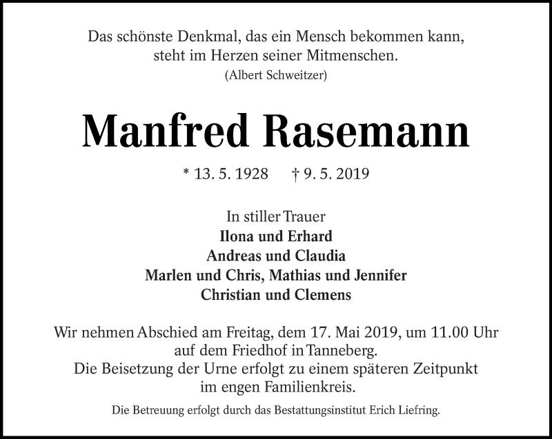 Traueranzeige für Manfred Rasemann vom 11.05.2019 aus lausitzer_rundschau