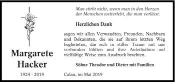 Traueranzeige für Margarete Hacker vom 04.05.2019 aus lausitzer_rundschau