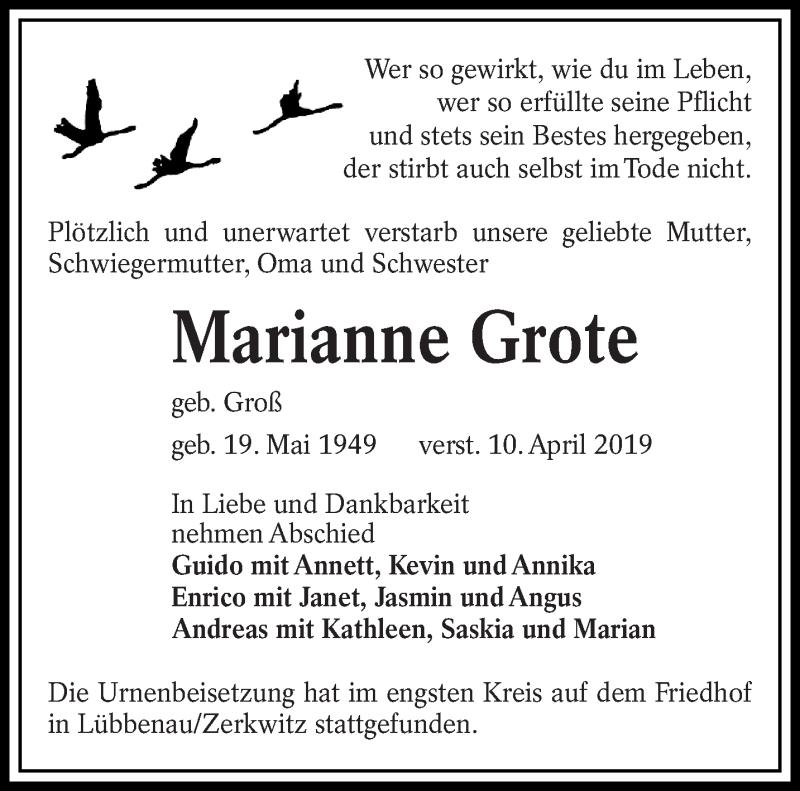 Traueranzeige für Marianne Grote vom 18.05.2019 aus lausitzer_rundschau