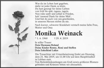 Traueranzeige für Monika Weinack vom 04.05.2019 aus lausitzer_rundschau