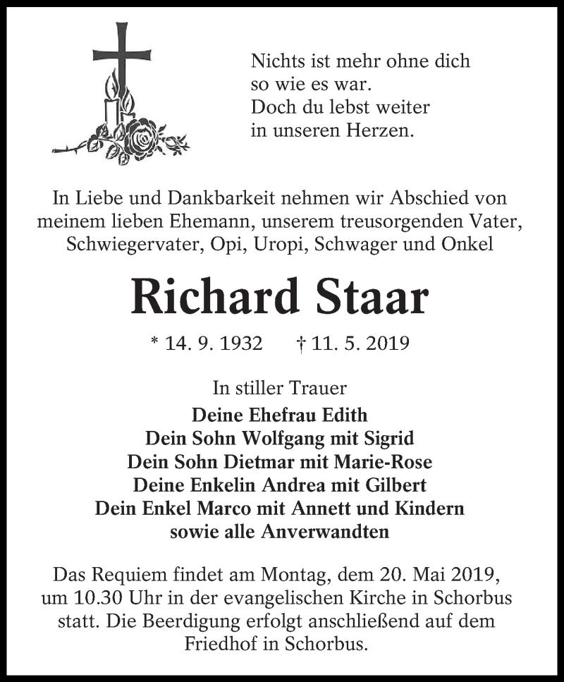 Traueranzeige für Richard Staar vom 15.05.2019 aus lausitzer_rundschau