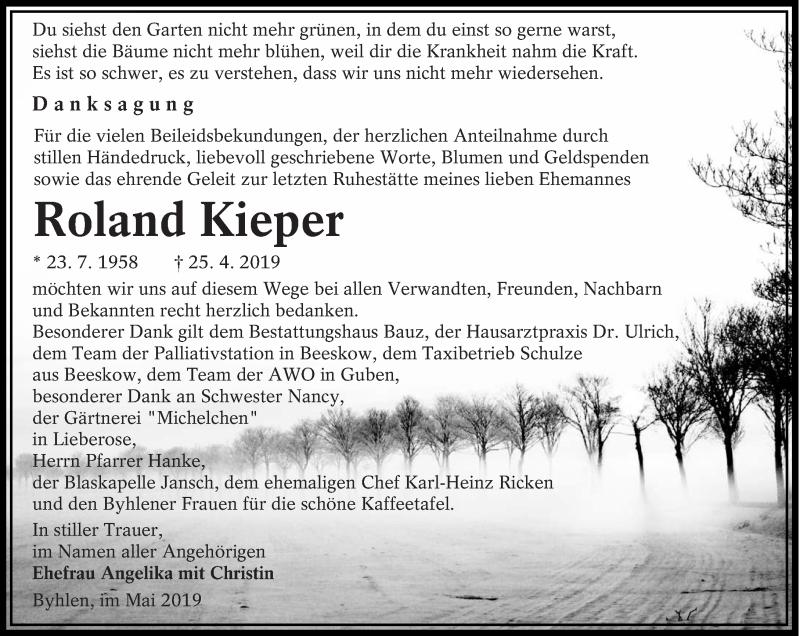 Traueranzeige für Roland Kieper vom 18.05.2019 aus lausitzer_rundschau