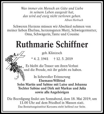 Traueranzeige für Ruthmarie Schiffner vom 15.05.2019 aus lausitzer_rundschau