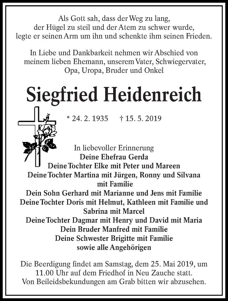 Traueranzeige für Siegfried Heidenreich vom 18.05.2019 aus lausitzer_rundschau