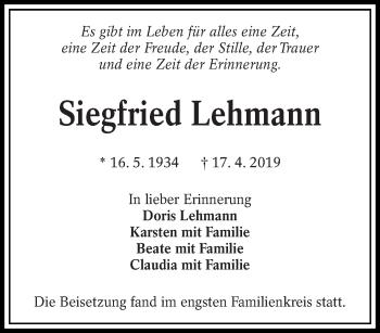 Traueranzeige für Siegfried Lehmann vom 15.05.2019 aus lausitzer_rundschau