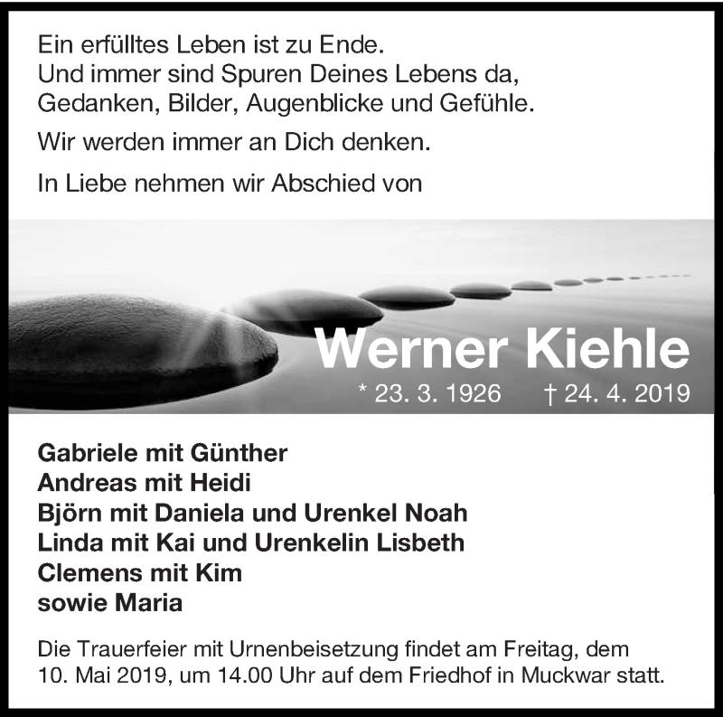 Traueranzeige für Werner Kiehle vom 04.05.2019 aus lausitzer_rundschau