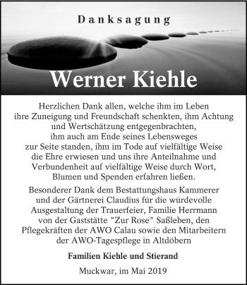 Traueranzeige für Werner Kiehle vom 18.05.2019 aus lausitzer_rundschau