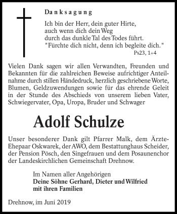 Traueranzeige für Adolf Schulze vom 01.06.2019 aus lausitzer_rundschau