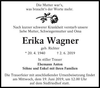 Traueranzeige für Erika Wagner vom 08.06.2019 aus lausitzer_rundschau