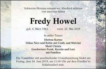 Traueranzeige für Fredy Howel vom 08.06.2019 aus lausitzer_rundschau