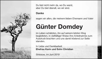 Traueranzeige für Günter Domdey vom 01.06.2019 aus lausitzer_rundschau