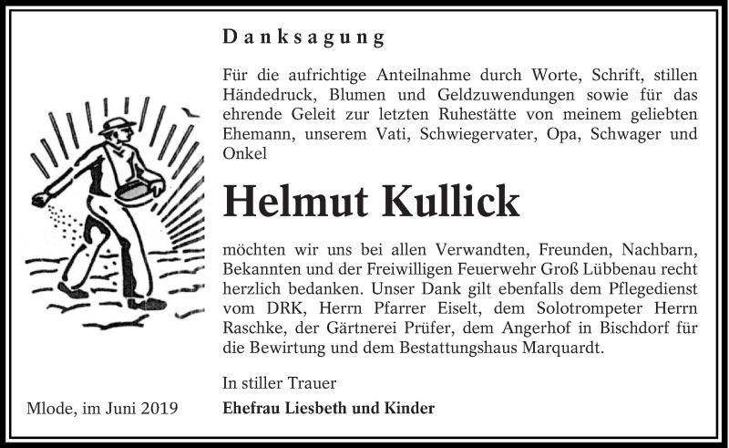 Traueranzeige für Helmut Kullick vom 08.06.2019 aus lausitzer_rundschau