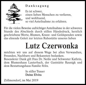 Traueranzeige für Lutz Czerwonka vom 01.06.2019 aus lausitzer_rundschau