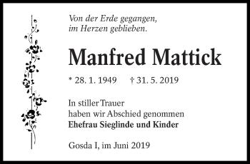 Traueranzeige von Manfred Mattick von lausitzer_rundschau