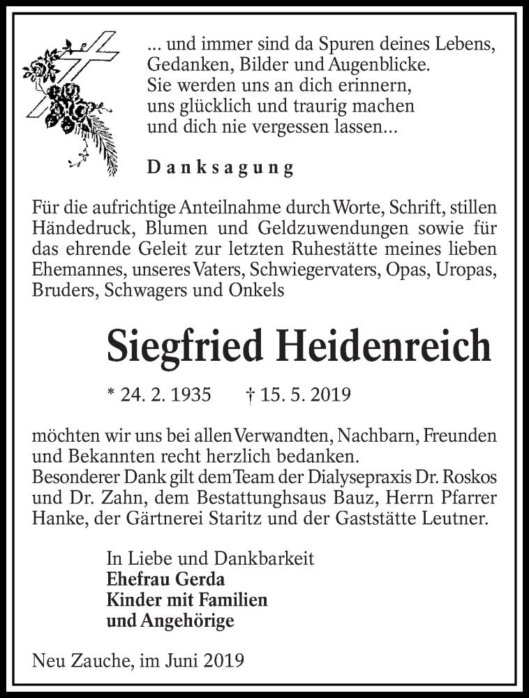 Traueranzeige für Siegfried Heidenreich vom 07.06.2019 aus lausitzer_rundschau