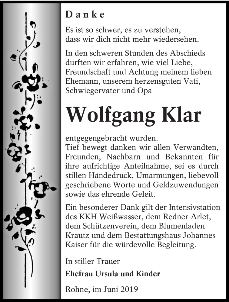 Traueranzeige für Wolfgang Klar vom 22.06.2019 aus lausitzer_rundschau