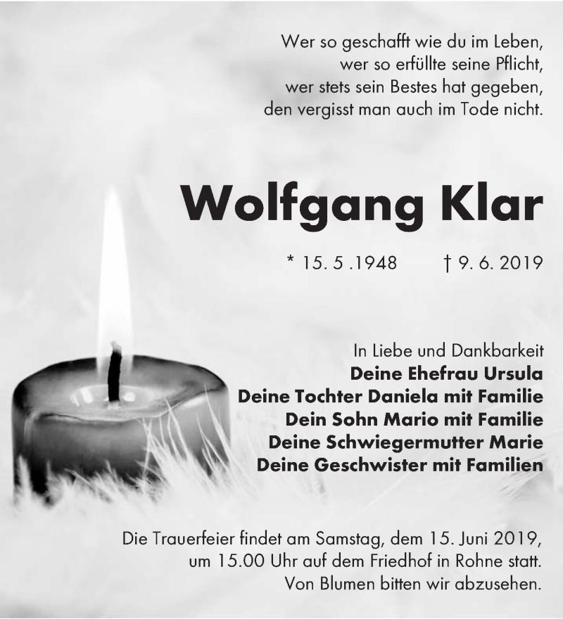 Traueranzeige für Wolfgang Klar vom 12.06.2019 aus lausitzer_rundschau