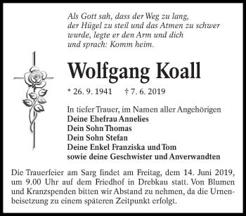 Traueranzeige für Wolfgang Koall vom 12.06.2019 aus lausitzer_rundschau