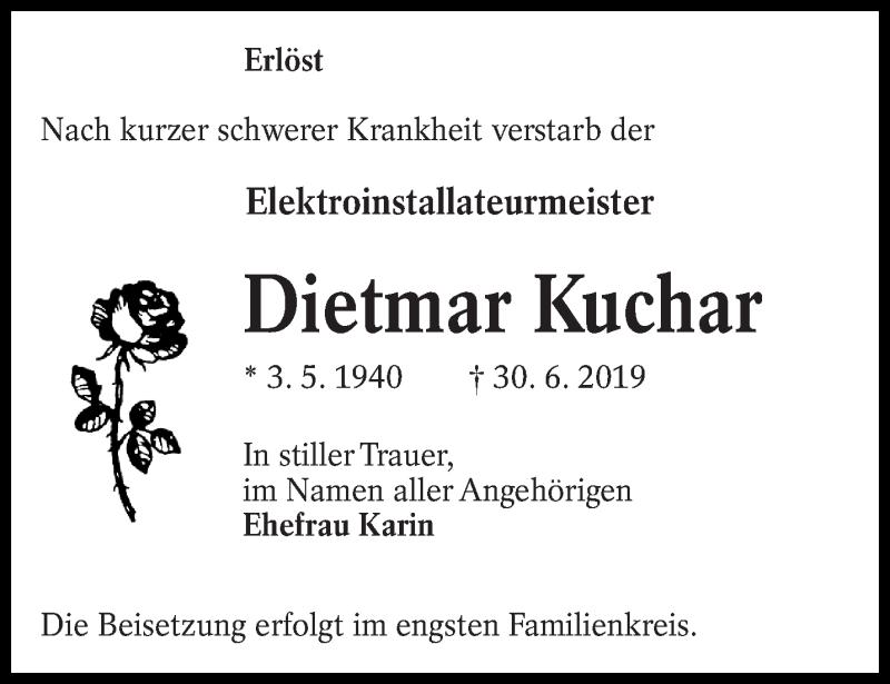 Traueranzeige für Dietmar Kuchar vom 04.07.2019 aus lausitzer_rundschau