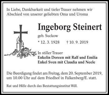Traueranzeige von Ingeborg Steinert von lausitzer_rundschau