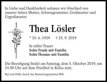 Traueranzeige von Thea Lösler von lausitzer_rundschau