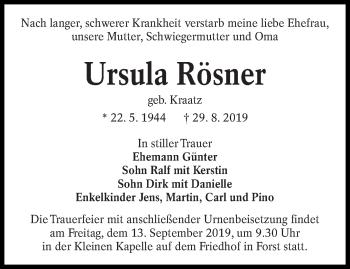 Traueranzeige von Ursula Rösner von lausitzer_rundschau
