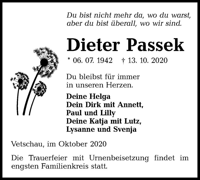 Traueranzeige für Dieter Passek vom 17.10.2020 aus lausitzer_rundschau